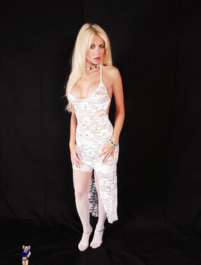 Blonde in white lace
