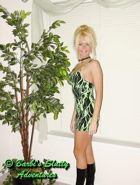 Green dress no panties