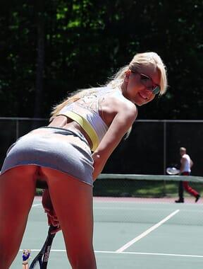 Flashing while losing a tennis bet