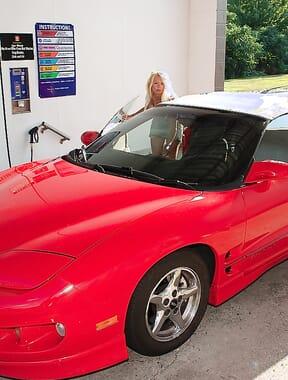 Having fun flashing washing car