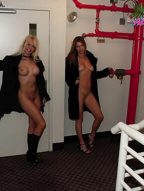 Naked in hotel stairway with kelly anderson