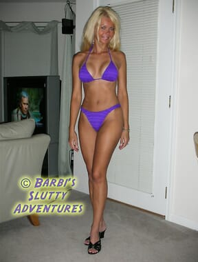 Purple brazilian bikini model