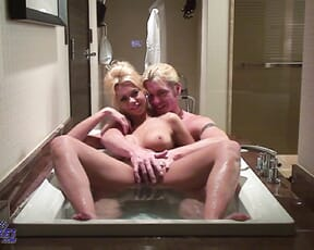 Bathtime for two ends wet